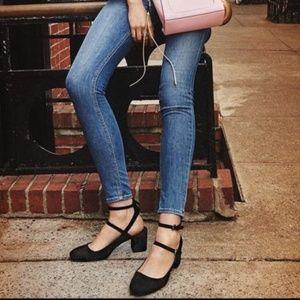 Rebecca Minkoff Gray Velvet Chunky Mary Jane Heels